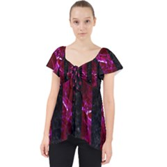 Stripes1 Black Marble & Burgundy Marble Lace Front Dolly Top