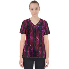 Stripes1 Black Marble & Burgundy Marble Scrub Top