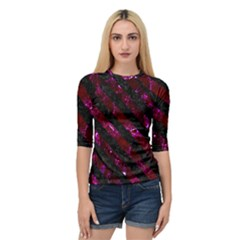 Stripes3 Black Marble & Burgundy Marble (r) Quarter Sleeve Raglan Tee