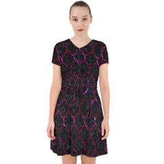 Tile1 Black Marble & Burgundy Marble Adorable In Chiffon Dress