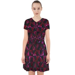 Triangle1 Black Marble & Burgundy Marble Adorable In Chiffon Dress