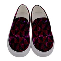 Triangle1 Black Marble & Burgundy Marble Women s Canvas Slip Ons