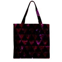 Triangle3 Black Marble & Burgundy Marble Zipper Grocery Tote Bag