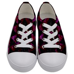 Triangle3 Black Marble & Burgundy Marble Kids  Low Top Canvas Sneakers