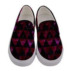 Triangle3 Black Marble & Burgundy Marble Women s Canvas Slip Ons