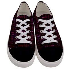 Woven1 Black Marble & Burgundy Marble Women s Low Top Canvas Sneakers