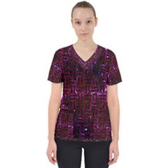 Woven1 Black Marble & Burgundy Marble (r) Scrub Top