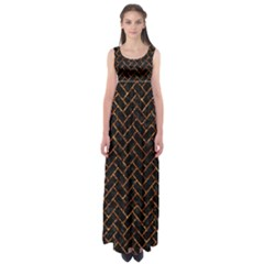 Brick2 Black Marble & Copper Foil Empire Waist Maxi Dress