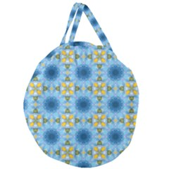 Blue Nice Daisy Flower Ang Yellow Squares Giant Round Zipper Tote