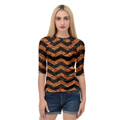 Chevron3 Black Marble & Copper Foil Quarter Sleeve Raglan Tee