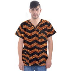 Chevron3 Black Marble & Copper Foil Men s V Neck Scrub Top
