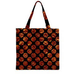 Circles2 Black Marble & Copper Foil Zipper Grocery Tote Bag
