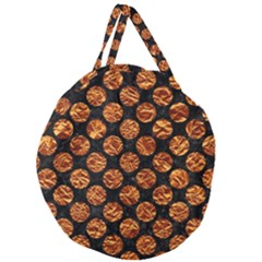 Circles2 Black Marble & Copper Foil Giant Round Zipper Tote