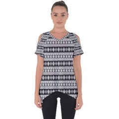 Fancy Tribal Border Pattern 17b Cut Out Side Drop Tee