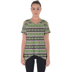 Fancy Tribal Border Pattern 17a Cut Out Side Drop Tee