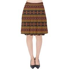 Fancy Tribal Border Pattern 17e Velvet High Waist Skirt