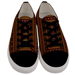 Fancy Tribal Border Pattern 17e Men s Low Top Canvas Sneakers