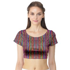 Star Fall In  Retro Peacock Colors Short Sleeve Crop Top