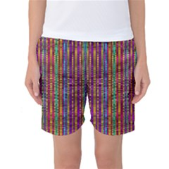 Star Fall In  Retro Peacock Colors Women s Basketball Shorts