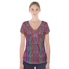 Star Fall In  Retro Peacock Colors Short Sleeve Front Detail Top
