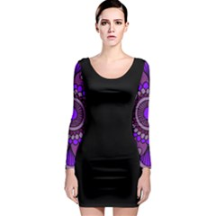 Purple Flower! Long Sleeve Bodycon Dress