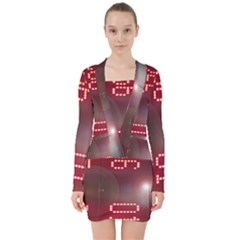 Numbers Game V Neck Bodycon Long Sleeve Dress