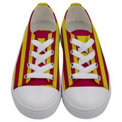 Red & Yellow Stripesi Kids  Low Top Canvas Sneakers