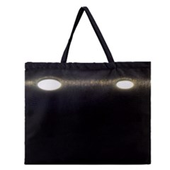 Black Lite!  Zipper Large Tote Bag