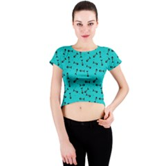 Fish Bones Pattern Crew Neck Crop Top