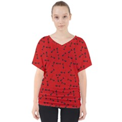 Fish Bones Pattern V Neck Dolman Drape Top