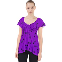 Fish Bones Pattern Lace Front Dolly Top