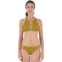 Fish Bones Pattern Perfectly Cut Out Bikini Set