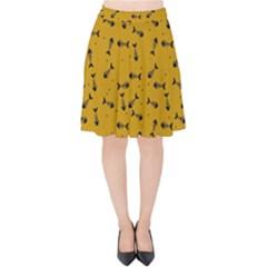 Fish Bones Pattern Velvet High Waist Skirt