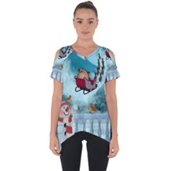 Christmas Design, Santa Claus With Reindeer In The Sky Cut Out Side Drop Tee