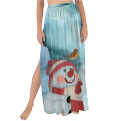 Christmas Design, Santa Claus With Reindeer In The Sky Maxi Chiffon Tie Up Sarong