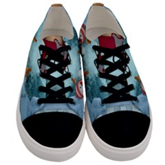 Christmas Design, Santa Claus With Reindeer In The Sky Men s Low Top Canvas Sneakers