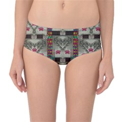 Wings Of Love In Peace And Freedom Mid Waist Bikini Bottoms