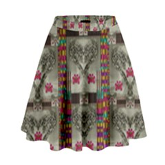Wings Of Love In Peace And Freedom High Waist Skirt