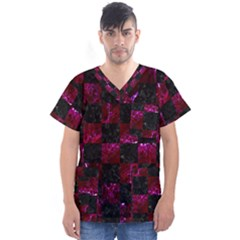 Square1 Black Marble & Burgundy Marble Men s V Neck Scrub Top