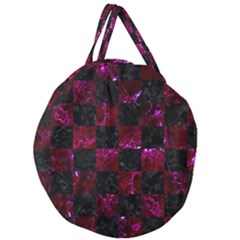 Square1 Black Marble & Burgundy Marble Giant Round Zipper Tote