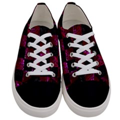 Square1 Black Marble & Burgundy Marble Women s Low Top Canvas Sneakers