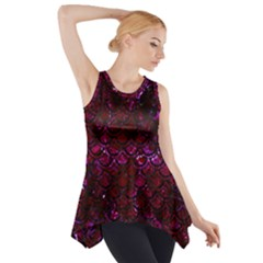 Scales2 Black Marble & Burgundy Marble (r) Side Drop Tank Tunic