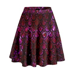 Scales2 Black Marble & Burgundy Marble (r) High Waist Skirt
