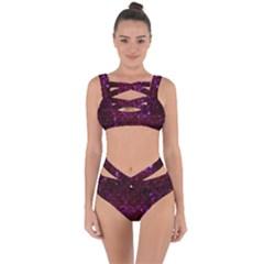 Scales2 Black Marble & Burgundy Marble (r) Bandaged Up Bikini Set