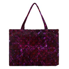 Scales2 Black Marble & Burgundy Marble (r) Medium Tote Bag