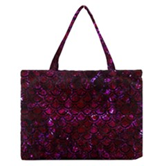 Scales2 Black Marble & Burgundy Marble (r) Zipper Medium Tote Bag