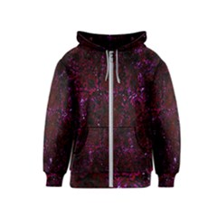 Damask2 Black Marble & Burgundy Marble Kids  Zipper Hoodie