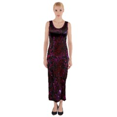 Damask2 Black Marble & Burgundy Marble Fitted Maxi Dress
