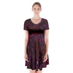 Damask2 Black Marble & Burgundy Marble Short Sleeve V Neck Flare Dress