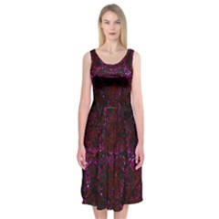 Damask2 Black Marble & Burgundy Marble Midi Sleeveless Dress